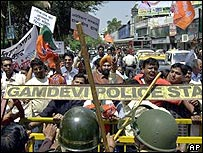 BJP activists protest against the US