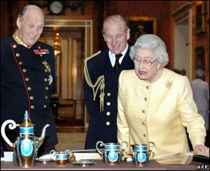 The king of Norway, the Duke of Edinburgh and the Queen