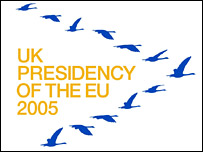 British EU presidency logo of swans