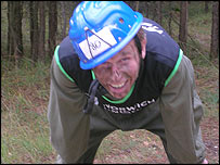 Our man catches his breath at the end of the assault course