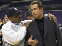 Director F Gary Gray and John Travolta on the Be Cool set