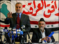 Tarik al-Hashimi and Adnan al-Dulaimi announce the creation of the Iraqi Accord Front