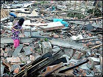 Tornado damage in northern Bangladesh