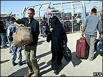 Palestinians at the Rafah crossing