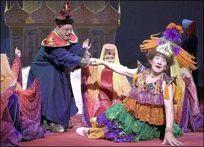 Sir Ian McKellen as Widow Twankey in the 2004 production of Aladdin at London's Old Vic