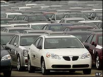 A Pontiac G6 is shown outside the General Motors Orion Assembly plant in Orion Township, Michigan