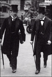 Lloyd George with Winston Churchill in 1910