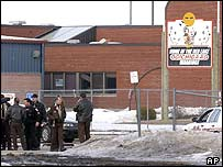 Police outside Red Lake High School in Minnesota