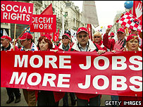 Workers from across Europe protesting in Brussels about the EU's poor record on job creation