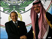 Algerian President Abdelaziz Bouteflika and Saudi FM Saud al-Faisal