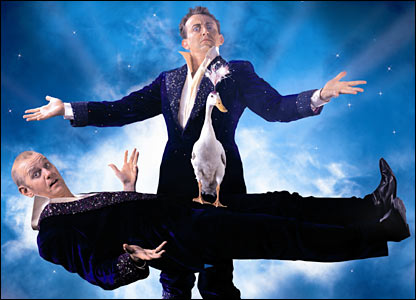 Sean Foley and Hamish McColl in Ducktastic at the Albery theatre, London (credit: Hugo Glendinning)