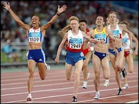 Kelly Holmes wins one of her two gold medals at the Athens Olympics
