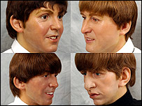 Waxwork heads of The Beatles
