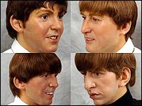 Waxwork heads of The Beatles