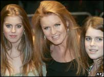 Duchess of York (centre) with Princess Beatrice (left) and Princess Eugenie