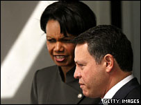 US Secretary of State Condoleezza Rice (left) with King Abdullah, Washington, March 2005