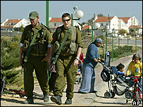 Israeli soldiers and settlers in Gaza