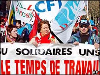French workers protesting against planned changes to the 35-hour working week