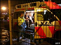 Paramedics at scene of the fire