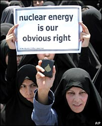 Iranian women protest in favour of Iran's nuclear programme