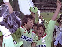Imran Khan and Inzamam-u-Haq celebrate winning the 1992 World Cup