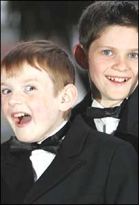 The young stars of Mickybo Niall Wright (right)  and John-Jo McNeill attended the premier