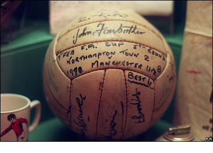 The match ball from Man Utd's 8-2 win over Northampton Town in the 1969-70 season