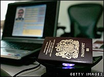 A new British biometric European Union passport, which is embedded with a microchip