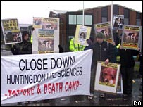 A demonstration against Huntingdon Life Sciences in Britain. File photo