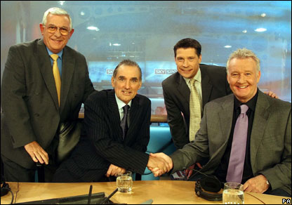 George Best with fellow broadcasters Alan Mullery (L),  Rodney Marsh (R), and Tony Cottee (2nd right)
