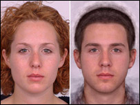 Female student's face and slightly altered male face