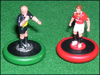 Pierluigi Collina and Wayne Rooney Subbuteo figures