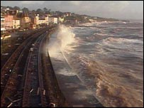 Railway lines on Dawlish seafront