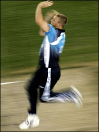 Andrew Flintoff runs in to bowl