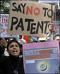 Anti-patent bill protest in Delhi
