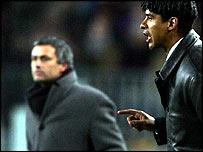 Jose Mourinho (left) and Frank Rijkaard