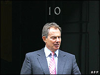 Tony Blair outside Number 10