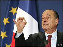 French President Jacques Chirac at a news conference in Brussels