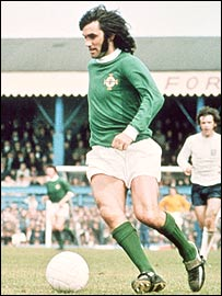 George Best in action for Northern Ireland in 1971