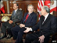 Vicente Fox, George W Bush and Paul Martin