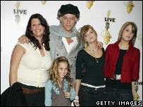 Fifi Trixibell Geldof; Tiger Lilly Geldof; Peaches Geldof; Pixie Geldof with Bob Geldof