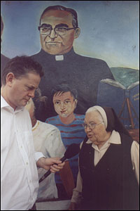 Reporter Maurice Walsh interviews Sister Isobel Luz