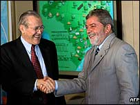 US Defence Secretary Donald Rumsfeld shakes hands with Brazilian President Luiz Inacio Lula da Silva