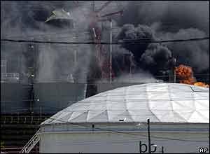Burning refinery