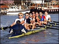 Oxford crew train on the Thames at Hammersmith on Wednesday