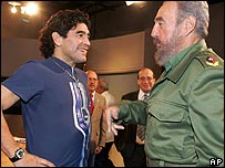 Maradona and Mr Castro (right) in a picture released by the Cuban government.