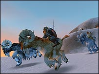 Screenshot of dwarves on ram mounts from World of Warcraft, Blizzard