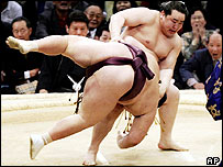 Sumo wrestlers in Osaka