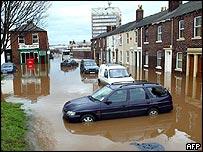 Flooding in Carlisle, northern England