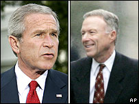 Lewis Libby (R) and President Bush